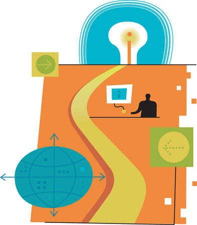 Illustration of person, computer, light bulb and globe