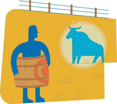 Man wearing bulls-eye barrel next to bull
