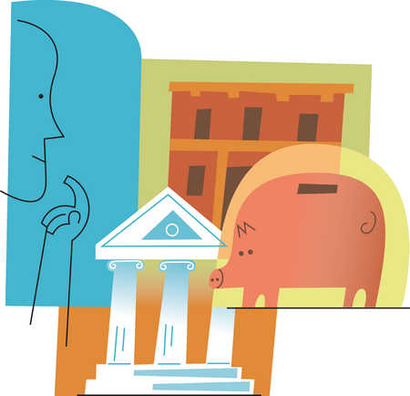 Person looking at buildings and piggy bank