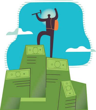 Mountain climber at top at money stacks