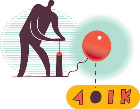 Person blowing up 401k balloon