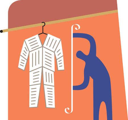 Person measuring paper suit