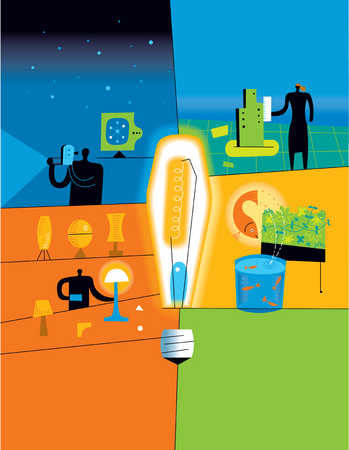 Energy efficient light bulb surrounded by nature, lamps, camera and businessperson