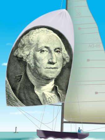 Sailboat with dollar sail