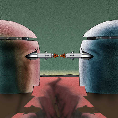 Heads with missiles in eyes