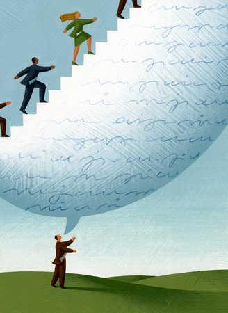 Businesspeople walking up businessman's talk bubble