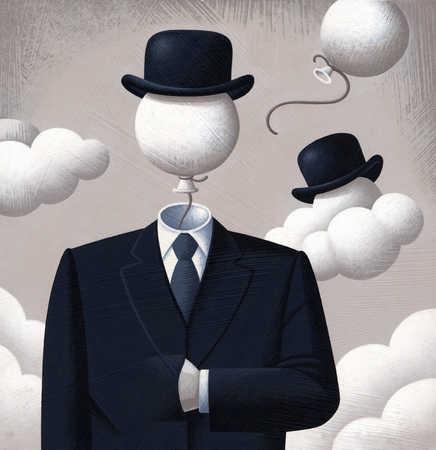 Businessman with balloon as head