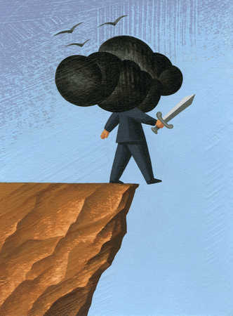 Businessman with head in clouds walking off cliff