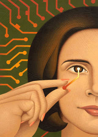 Woman holding circuit on eye