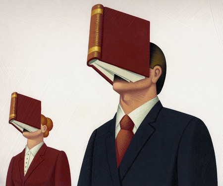 Business people with books on faces