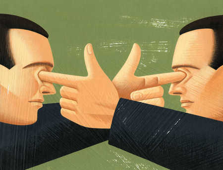 Businessman with fingers in each other's eyes