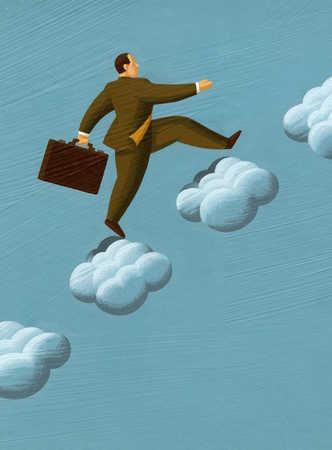 Businessman climbing up clouds