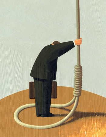 Businessman standing in noose