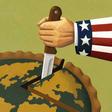 Uncle Sam cutting slice out of globe pie