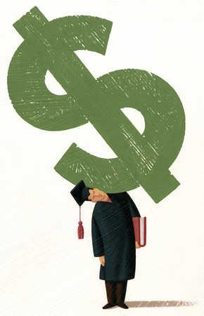 Graduate holding dollar sign on shoulder
