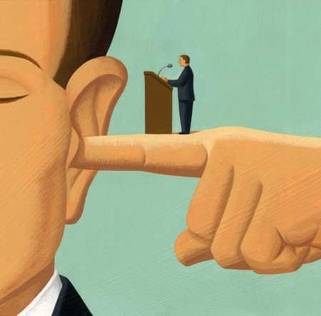 Businessman giving speech on finger in businessman's ear