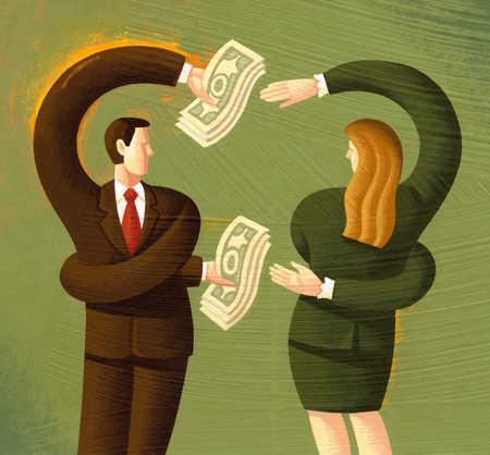 Businesspeople exchanging money