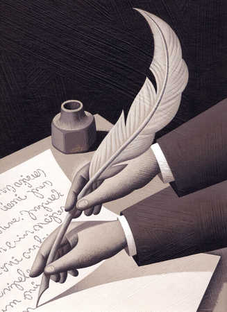 Two hands on quill pen writing document