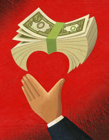 Businessman's hand making heart-shape with money stack