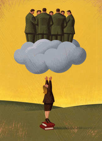 Businesswoman reaching up to businessmen on cloud