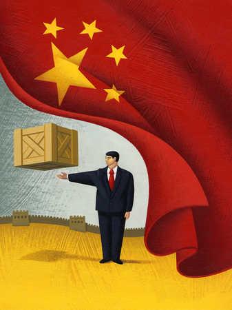 Businessman levitating box behind chinese flag curtain