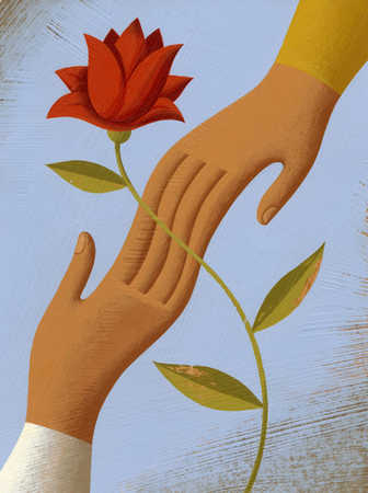 Hands connected behind flower