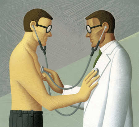 Doctor and patient using stethoscopes