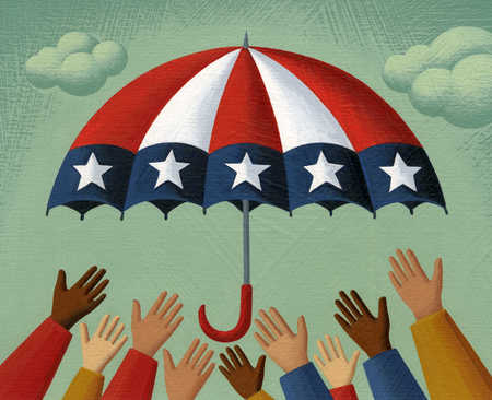 Multi-ethnic hands reaching for American flag umbrella