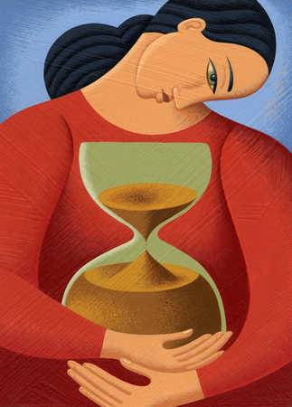 Woman hugging hourglass