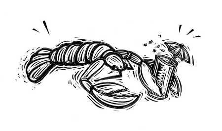 Illustration of lobster holding cocktail