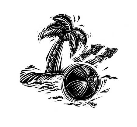 Illustration of fish, ball and palm tree