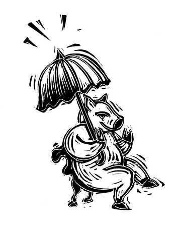 Illustration of pig holding umbrella