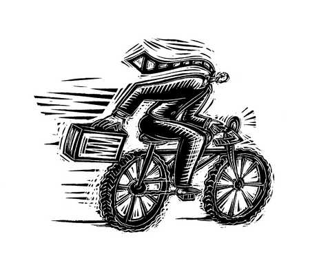Illustration of businessman riding bicycle