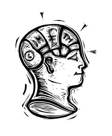 Illustration of person with marked brain sections