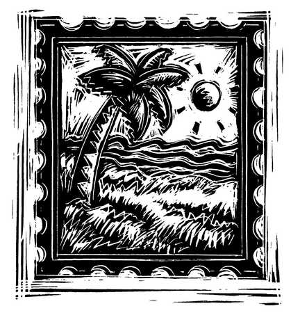 Illustration of postage stamp with palm tree