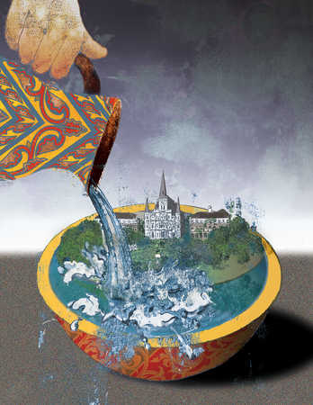 Hand pouring water into bowl with buildings