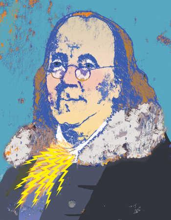 Illustration of Benjamin Franklin with lightning bolts at neck