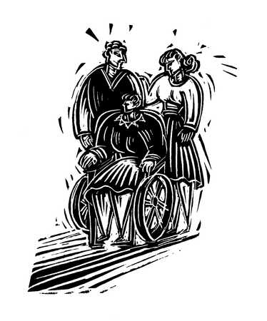 Illustration of couple with senior woman in wheelchair