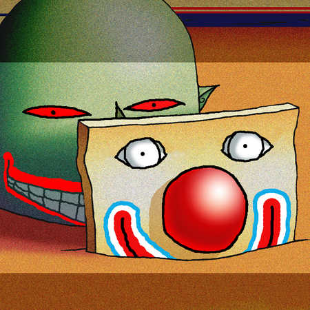 Head with clown mask