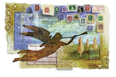 Illustration of angel, postage stamps, letters and picture frames