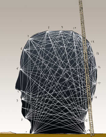 Ladder against head with numbers and lines