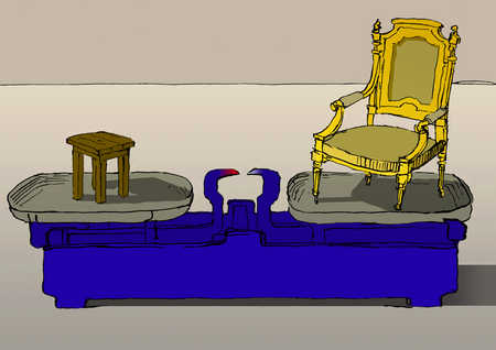Chair and stool on scale