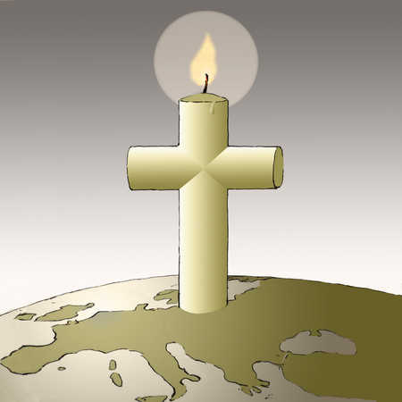 Cross candle on globe