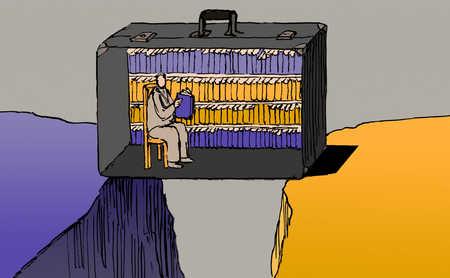 Businessman reading book inside briefcase over chasm