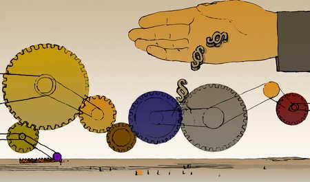 Hand pouring symbols into cog wheels