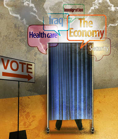 Voting booth with issues in thought bubbles
