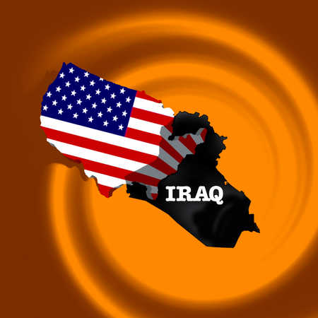 Maps of United States and Iraq overlapping