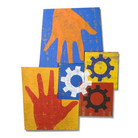 Illustration of hands and cog wheels