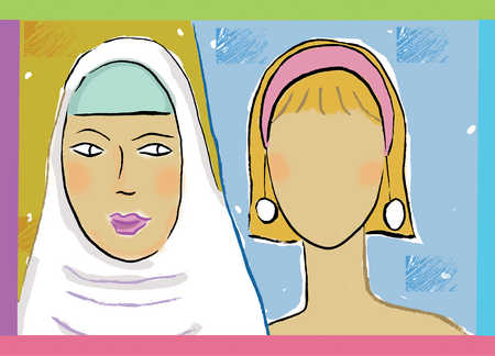 Woman wearing headscarf looking at female head with no face