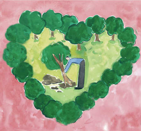 Man planting tree in heart-shaped clearing